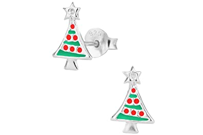 Amazon.com: Hypoallergenic Sterling Silver Christmas Tree Holiday ...