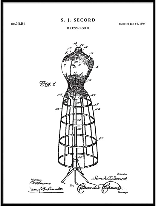 Amazon Com Dress Form 1904 Patent Poster Print Vintage Fashion Poster Sewing Room Fashion Designer Gifts Fashion Decor Seamstress Art Qp708 Posters Prints