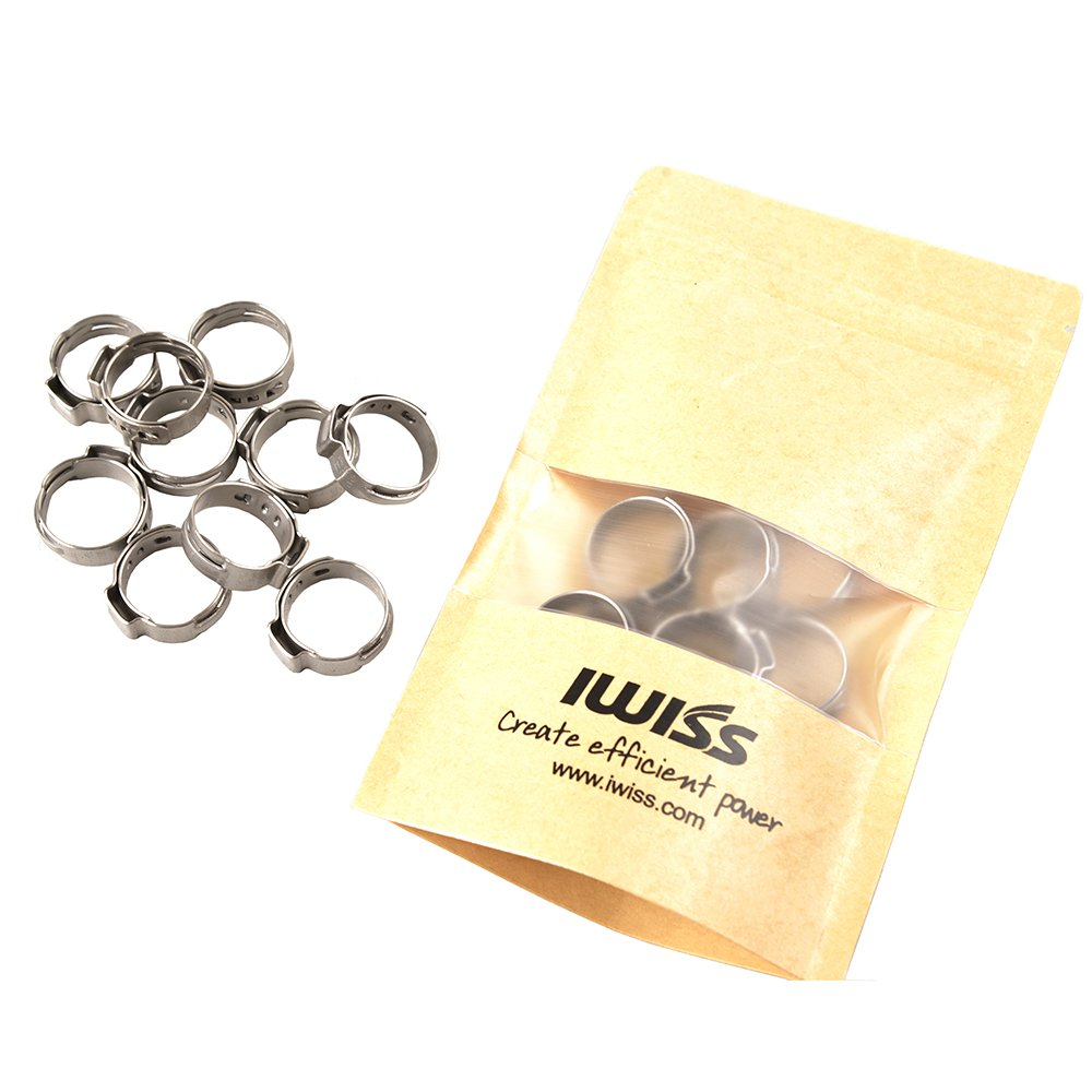 IWISS 10 PCS 1//2-inch PEX Stainless Steel Clamp Cinch Rings Crimp Pinch Fitting Tools-Packed in Waterproof bag Iwiss Electric Co Ltd