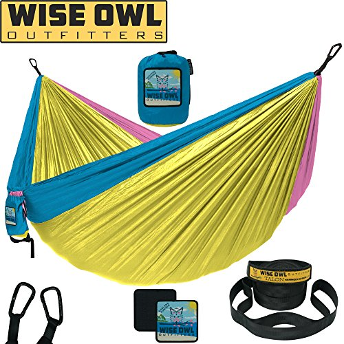 Wise Owl Outfitters Camping Hammock With Tree Straps Single & Double Portable Lightweight Heavy Duty Nylon Hammocks – Best Camp Gear for Outdoors, Beach, Hiking – Many Colors