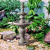 Peaktop VFD8179-UK Outdoor & Indoor Icy Stone 2-Tier Waterfall Water Fountain, Grey, 133.5 cm x 61.49 x 61.49 x 133.5 cm