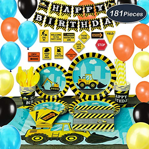 (WERNNSAI Construction Party Supplies Set - 181 PCS Dump Truck Party Decorations for Boys Kids Birthday Banner Balloons Signs Cutlery Bag Table Cover Plates Cups Napkins Straws Utensils 16)