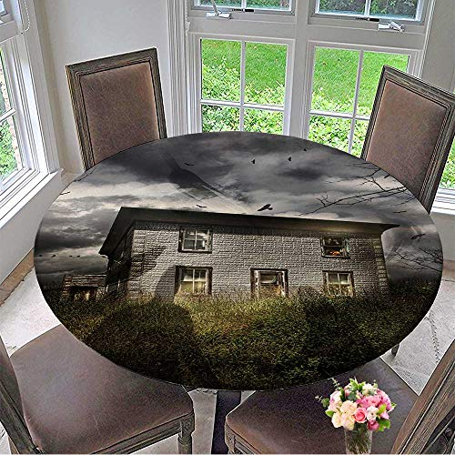 Mikihome Picnic Circle Table Cloths Old Abandoned House with Flying Ghosts for Halloween for Family Dinners or Gatherings 35.5