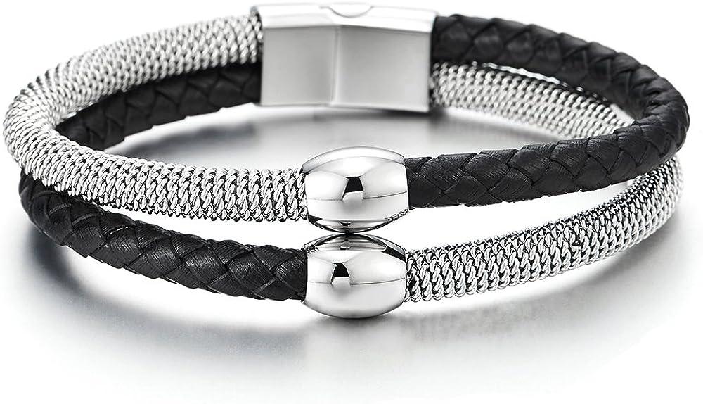 COOLSTEELANDBEYOND Dos Hileras Cuero Negro Trenzado y Cable Acero Pulsera con Perla Colgantes de Hombre Mujer, Pulsera Cuero Tejido