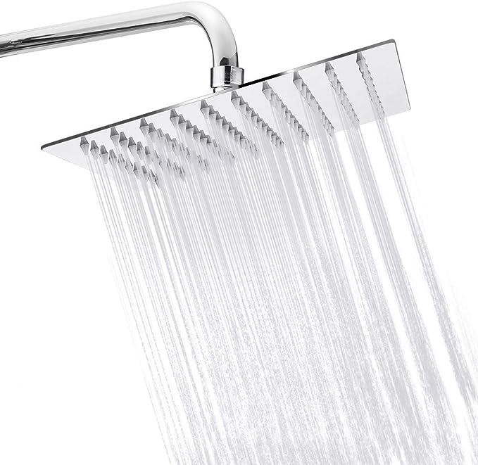 "FA Wall Mount Bathroom Bath 8"" Ultra Thin Rain Shower Head Set With Hand Spray"