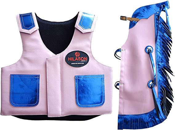 C-26-M Medium Hilason Leather Bareback Pro Rodeo Horse Riding Protective Vest