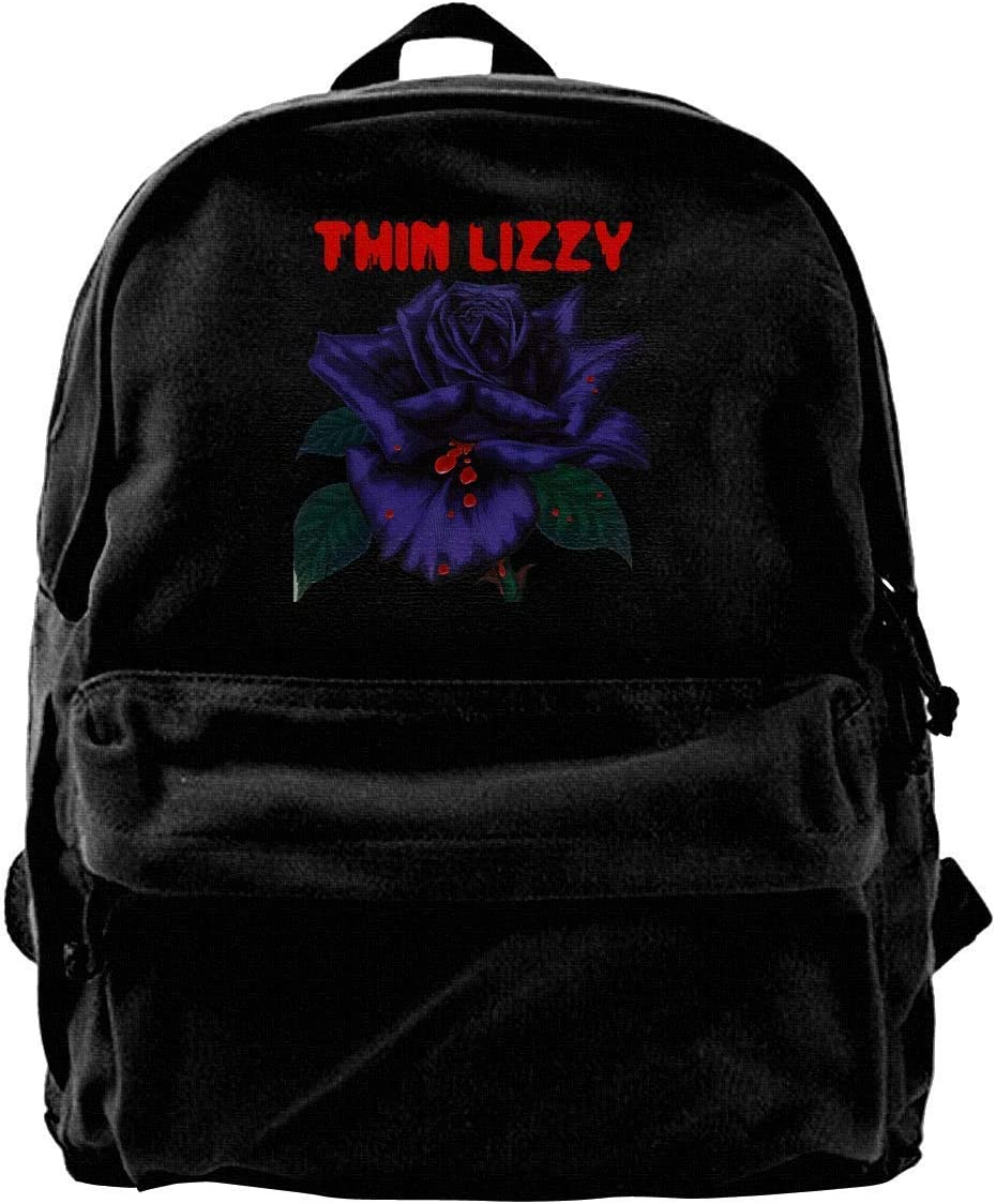ghfghgfghnf Canvas Backpack Thin Lizzy Rose Rucksack Gym Hiking Laptop Shoulder Bag Daypack For Men Women