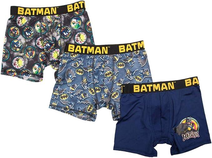DC Comics Boys 3pc Batman Boxer Briefs Boxer Shorts Set Underwear 8 Blue