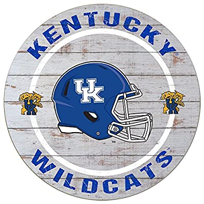 "KH Sports Fan 20""x 20"" Kentucky Wildcats Helmet Weathered Circle Sign"