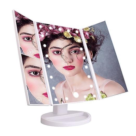 49 opinioni per Leeron Specchio per Trucco 1X/ 2X/ 3X Ingradimento Specchio Luminoso con 21 LED