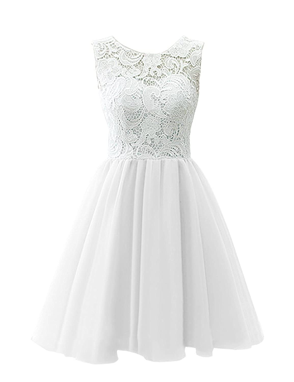 Blanc 9 ans fille KekeHouse® Robe de Cérémonie Mariage Soirée Fille Enfant Femme Courte Fille de fleur En A