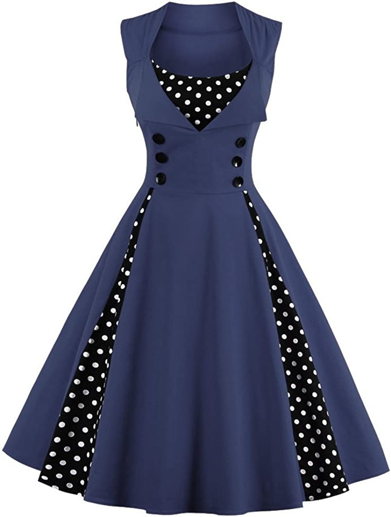 TALLA L. VERNASSA 50s Vestidos Vintage,Mujeres 1950s Vintage A-Line Rockabilly Clásico Verano Dress for Evening Party Cocktail, Multicolor, S-Plus Size 4XL 1357-azul Marino