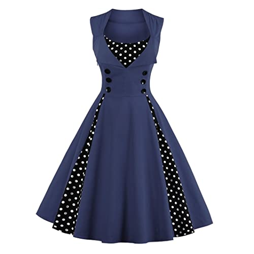 VERNASSA 50s Retro Dresses, Womens 1950s Vintage A-Line Cotton Swing Dress for Rockabilly