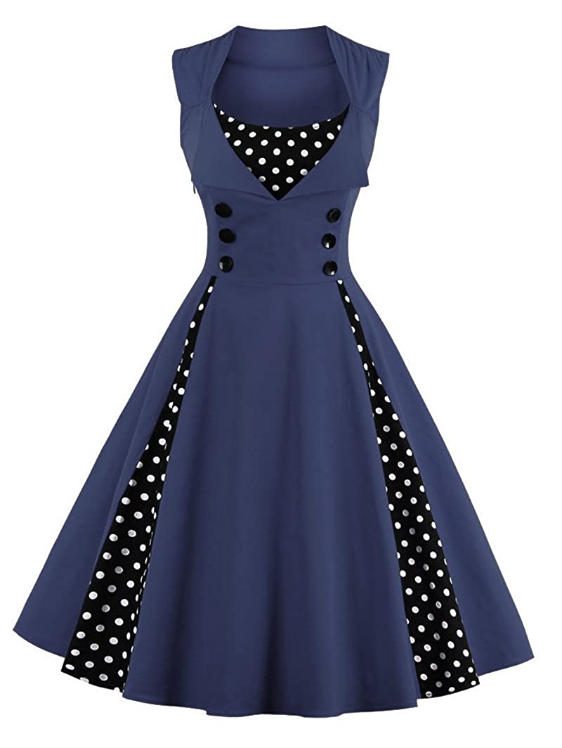 TALLA S. VERNASSA 50s Vestidos Vintage,Mujeres 1950s Vintage A-Line Rockabilly Clásico Verano Dress for Evening Party Cocktail, Multicolor, S-Plus Size 4XL 1357-azul Marino