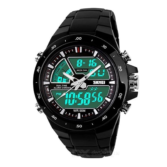 319800c57ca7 Amazon.com  Relojes de Hombre Sport LED Digital Military Water Resistant Watch  Reloj Men RE0034 (BLACK)  Watches