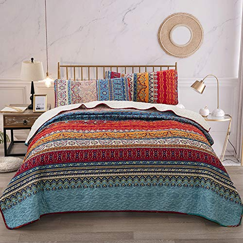 WONGS BEDDING Bohemian Quilt Set Queen, Boho Striped Pattern Printed Quilt Coverlet for All Season, Soft Microfiber Boho Bedspread 90×90 inches(3 Pieces, Colorful)