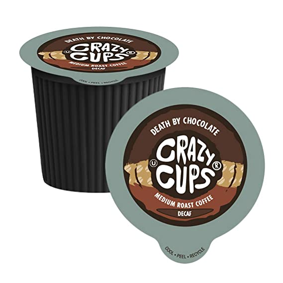 Crazy Cups Decaf Death by Chocolate Flavored Coffee Single Serve