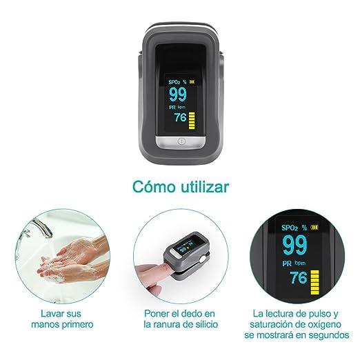 GHB Pulsímetro Oxímetro de Pulso y Monitor de Frecuencia Cardíaca con Pantalla OLED y Función de Auto-Apagado: Amazon.es: Deportes y aire libre