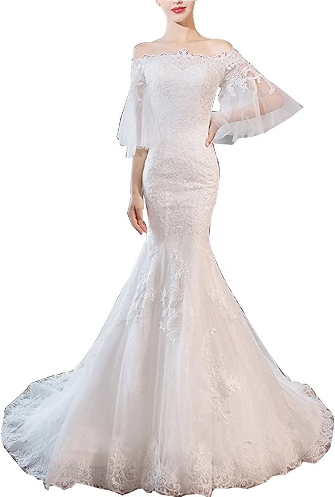 Tutu Vivi Women S Lace Off Shoulder Wedding Dresses 2018 Long Mermaid Wedding Gowns At Amazon Women S Clothing Store