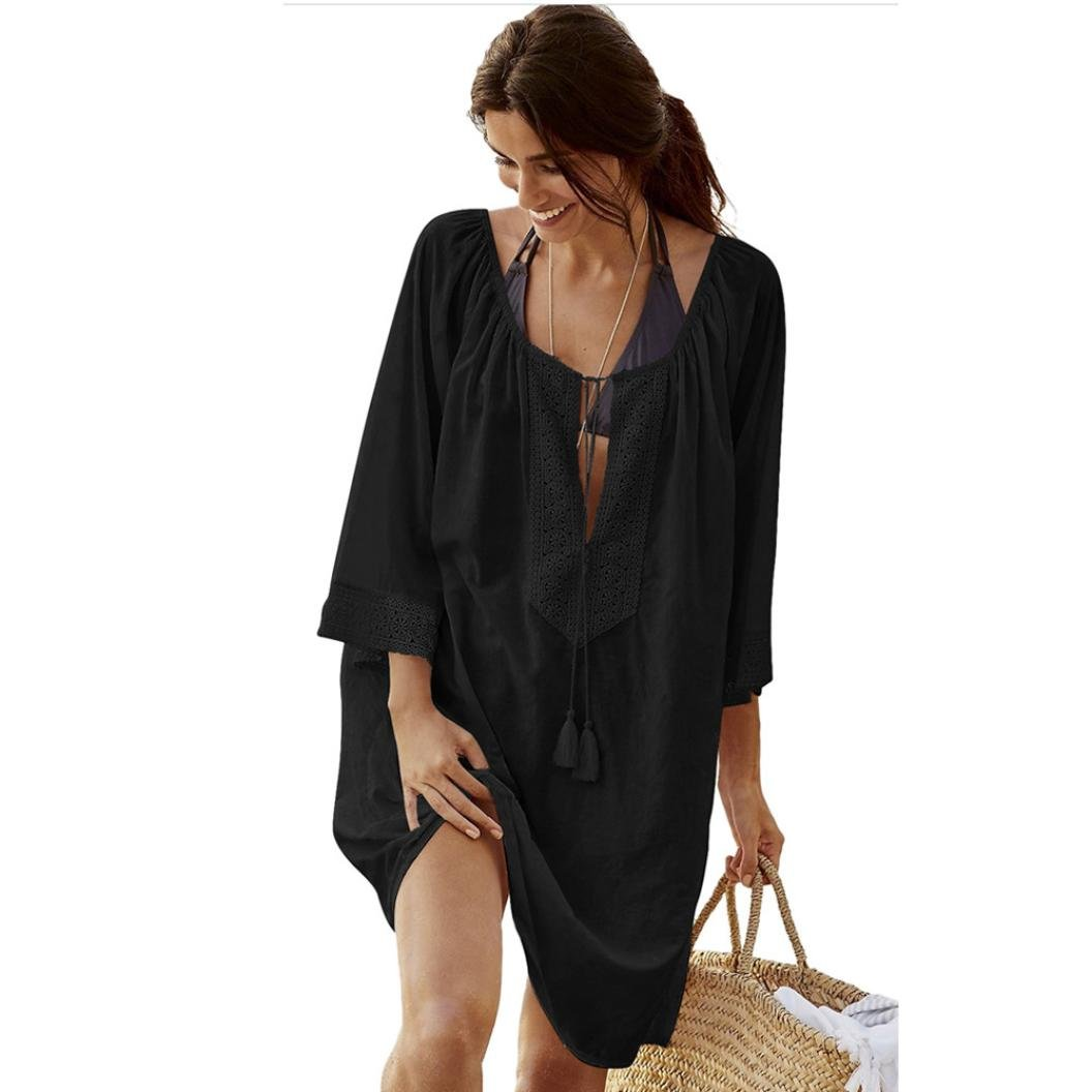 824e1c1b17ee1 VENMO Women Bikini Swimsuit Lace Cover-Up With Tassels Loose Beach Wear Long  Sleeves Sarongs Wrap Shawl Summer Swimming Costume
