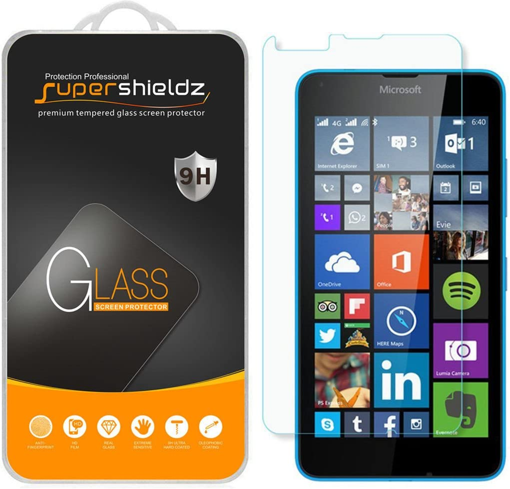 (2 Pack) Supershieldz for Microsoft Lumia 640 Tempered Glass Screen Protector, Anti Scratch, Bubble Free