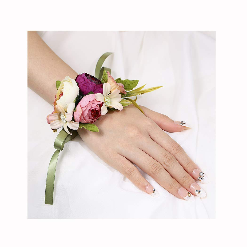 Campsis Wedding Wrist Corsage Bridal Wrist Flower Bride Hand Flower Decor for Bridesmaid Prom Party Homecoming 2 Pcs (Pink Camellia)