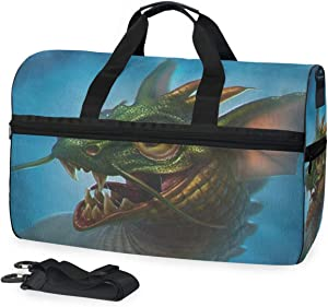 SLHFPX Gym Bag Green Dragon Duffle Bag Large Sport Travel Bags for Men Women