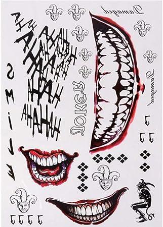 BingWS 100 Piezas Halloween Cosplay The Joker Tatuaje Temporal ...
