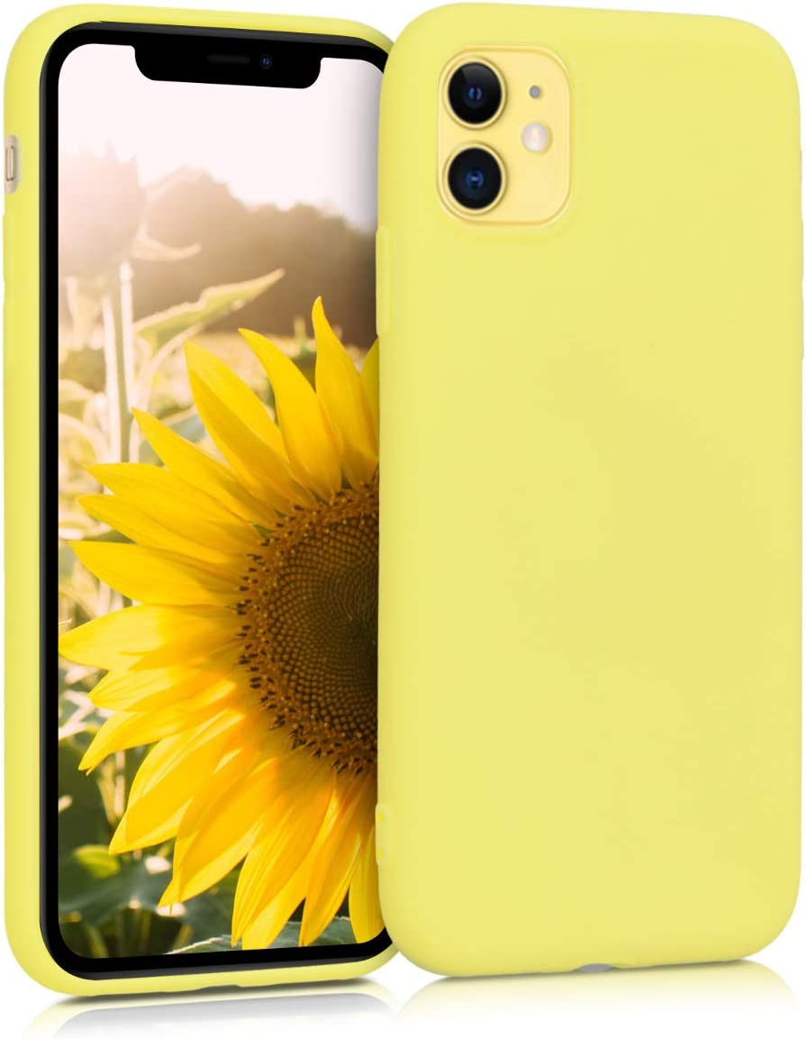 kwmobile TPU Silicone Case Compatible with Apple iPhone 11 - Soft Flexible Protective Phone Cover - Pastel Yellow Matte