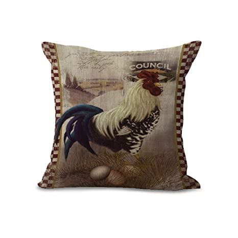 Cushion Covers Pads/Grey Retro Style Rooster Coffee Chicken ...