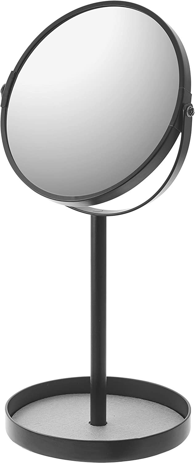 YAMAZAKI home Round Standing Mirror-Bathroom and Bedroom Organizer with Tray, One Size, Black