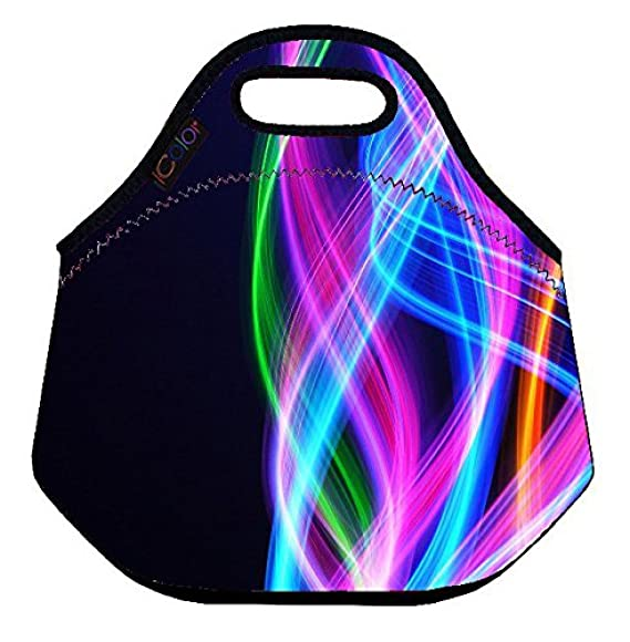 ICOLOR Colorful fancy Insulated Neoprene Lunch Bag Tote Handbag lunchbox Food Container Gourmet Tote Cooler warm Pouch For School work Office