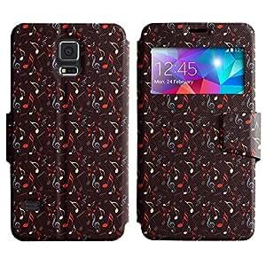 LEOCASE nota de la música Funda Carcasa Cuero Tapa Case Para Samsung Galaxy S5 I9600 No.1005060