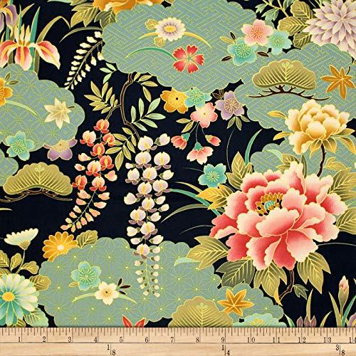- Trans-Pacific Textiles Oriental Chrysanthemum Iris Fabric, Navy, Fabric By The Yard