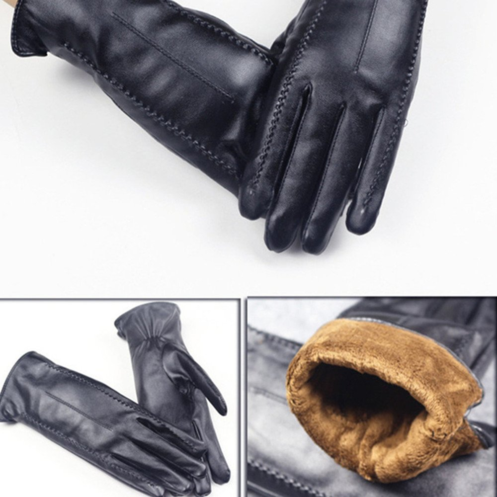 Long Keeper Women's Touchscreen Texting Driving Winter Warm PU Leather Gloves … (Black) by Long Keeper (Image #5)