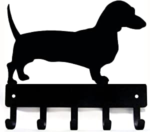 The Metal Peddler Dachshund Dog - Key Hooks & Holder - Small 6 inch Wide - Made in USA
