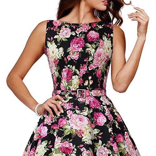 Negro Divinity 'Audrey' Rosas Años Vestido Vintage 50 BlackButterfly Flores wqvRf4Ax6C