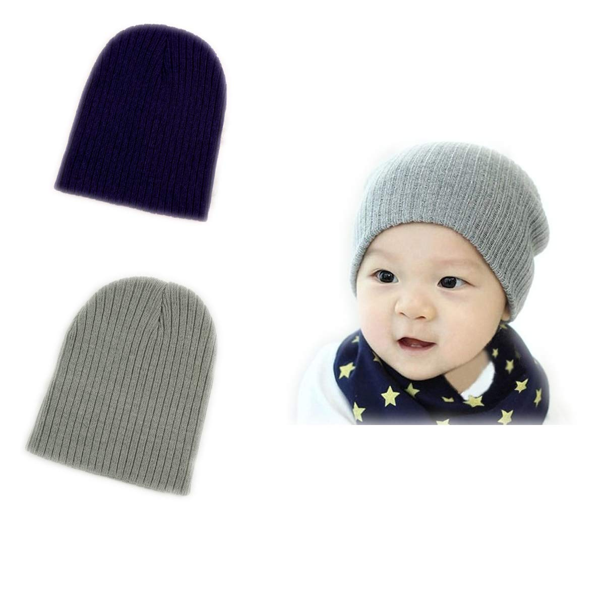 BOMPOW Baby Hat Infant Cute Cotton Knit Hat Beanies Cap for 6 Months to 3 Years