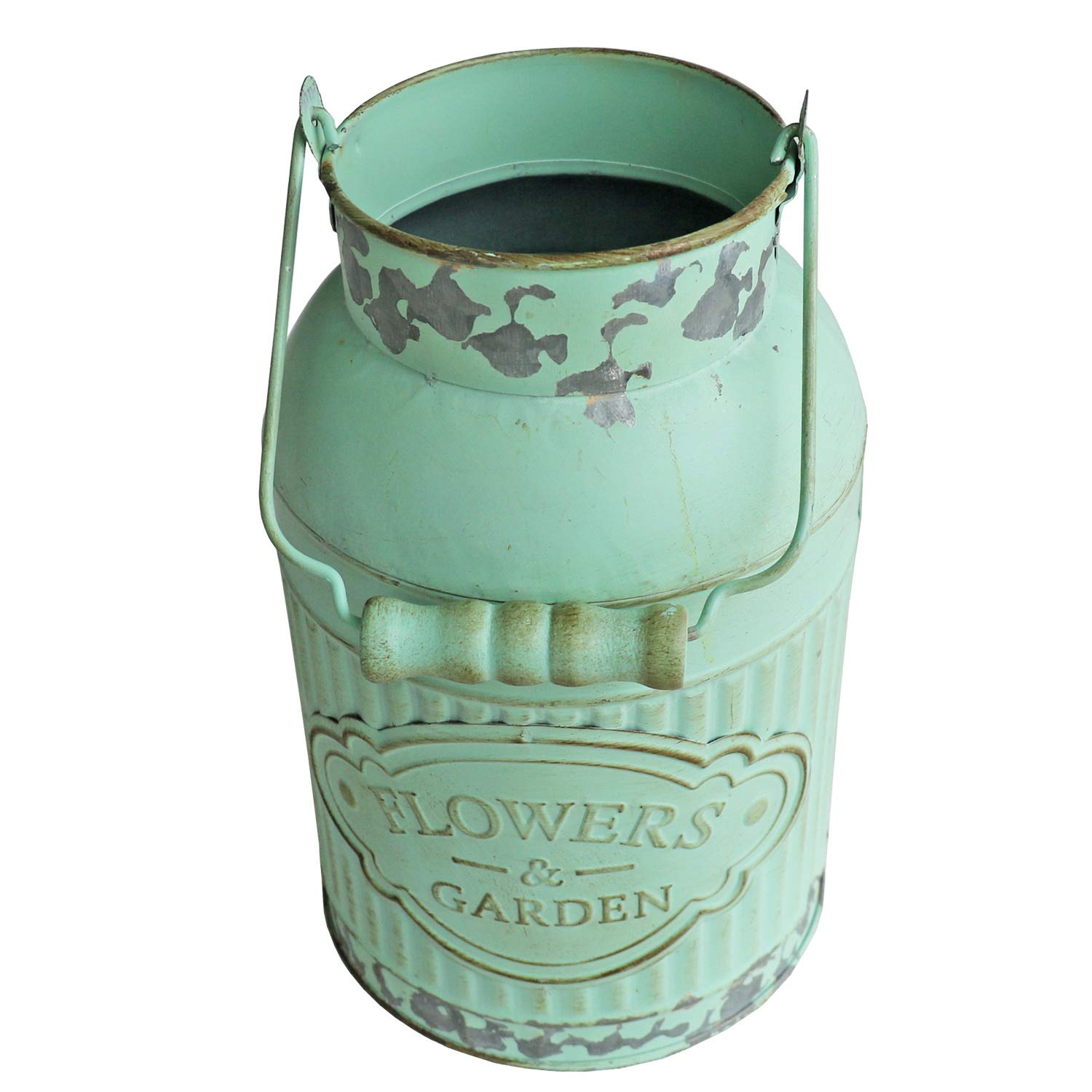 HyFanStr Shabby Chic Green Painted Milk Can Style Metal Vase Flower Pitcher Jug Pot by HyFanStr (Image #4)