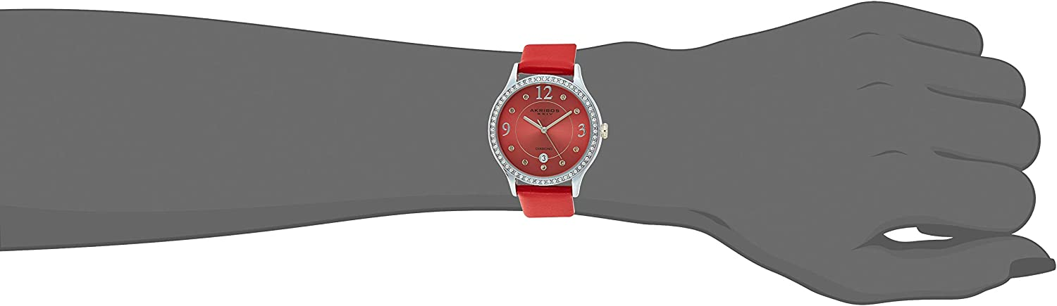 Akribos Swarovski Crystal Women's Watch - Diamond Markers On A Sunray Dial - Genuine Leather Strap Watch - AK1011 Fire Engine Red