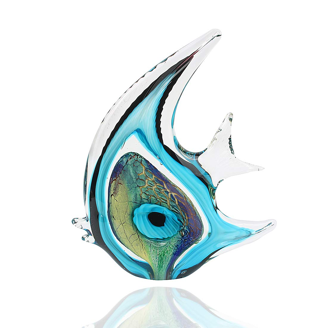 Hophen Tropical Angel Fish Art Glass Blown Handmade Sea Animal Figurine Sculpture Home Decor Collectible Statue Paper Weight Gift Ornament Big Blue