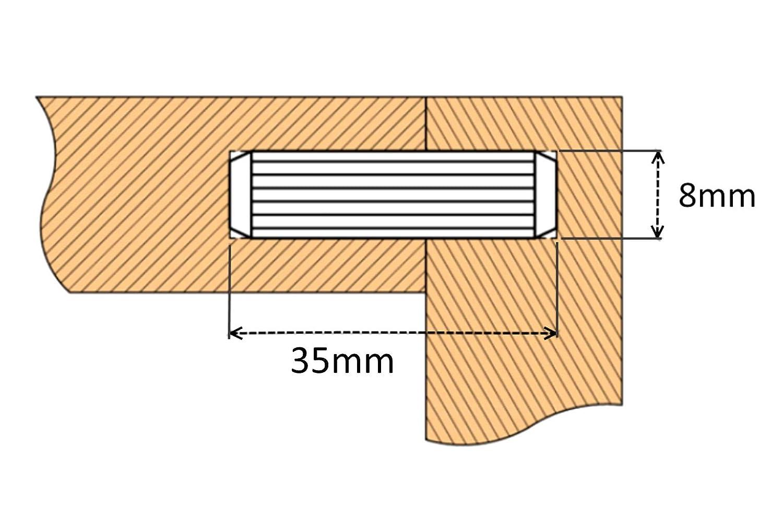 200x Tarugos espigas de madera para montaje muebles paneles 8х35mm estriado C41679 AERZETIX