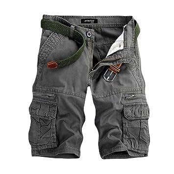 LuckyGirls Pantalones Corta de Hombre Casual Cargo Trabajo Deporte Cremallera Pantalones de Chándal Sueltos Pantalón con