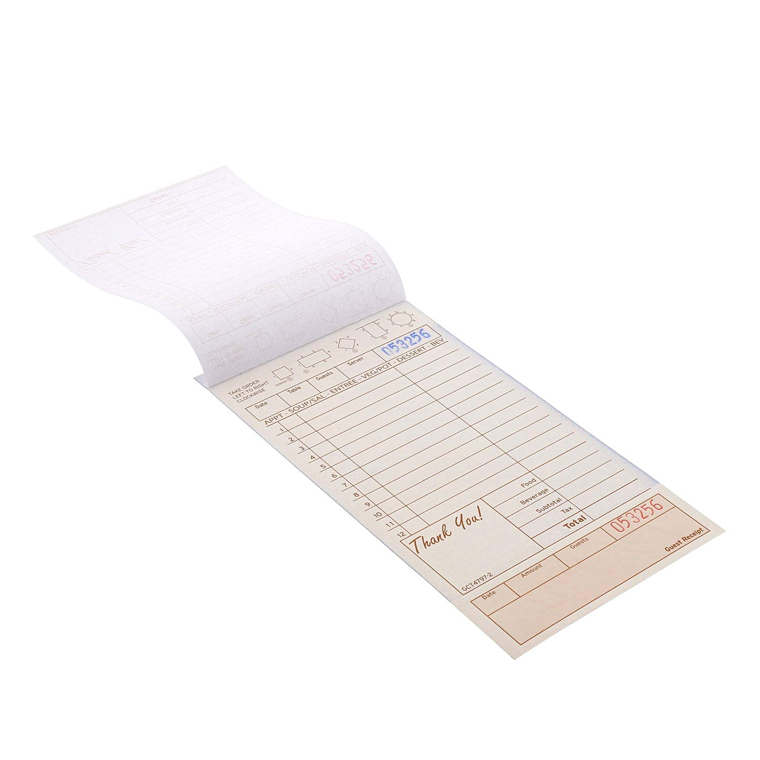 Royal Tan Guest Check Board, Carbonless, 2 Part Loose with 12 Lines, Case of 8 Packs