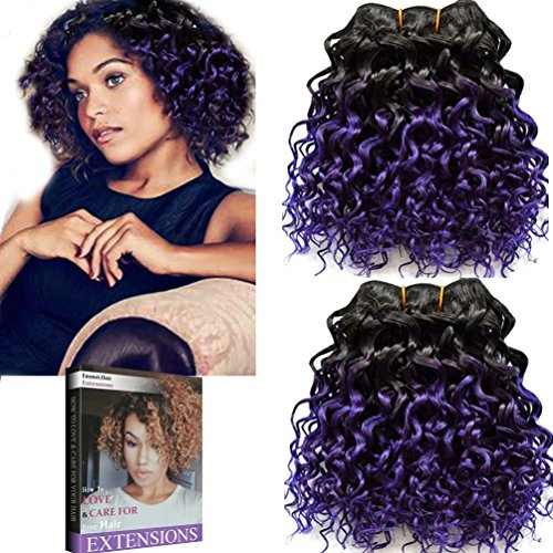 Emmet 2pcs/lot 100g Short Wave 8Inch Brazilian Kinky Curly Human Hair Extension, with Hair Care Ebook (1B#/Purple)