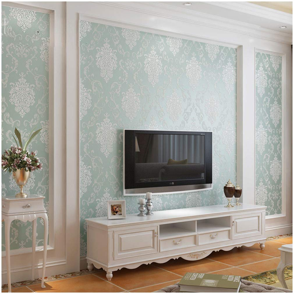QIHANG European Style Luxury 3D Damask Pearl Powder Non-woven Wallpaper Roll Light Blue Color 0.53m x 10m=5.3㎡
