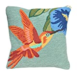 Liora Manne Whimsy Bird and Flower Indoor/Outdoor Pillow, Sky