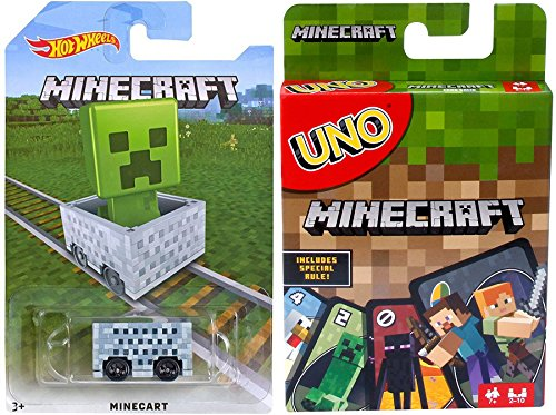 Minecraft Go! Uno Card Game Classic Matching +Hot Wheels Minecart car bundle ()