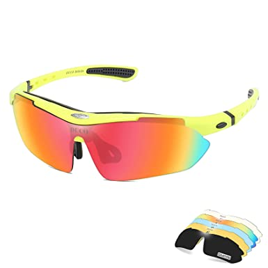 f4ccb02bb Duco POLARIZED Sports Sunglasses Cycling Glasses Exchangeable 5 Lens UV400  SP0868 Fluorescent Green