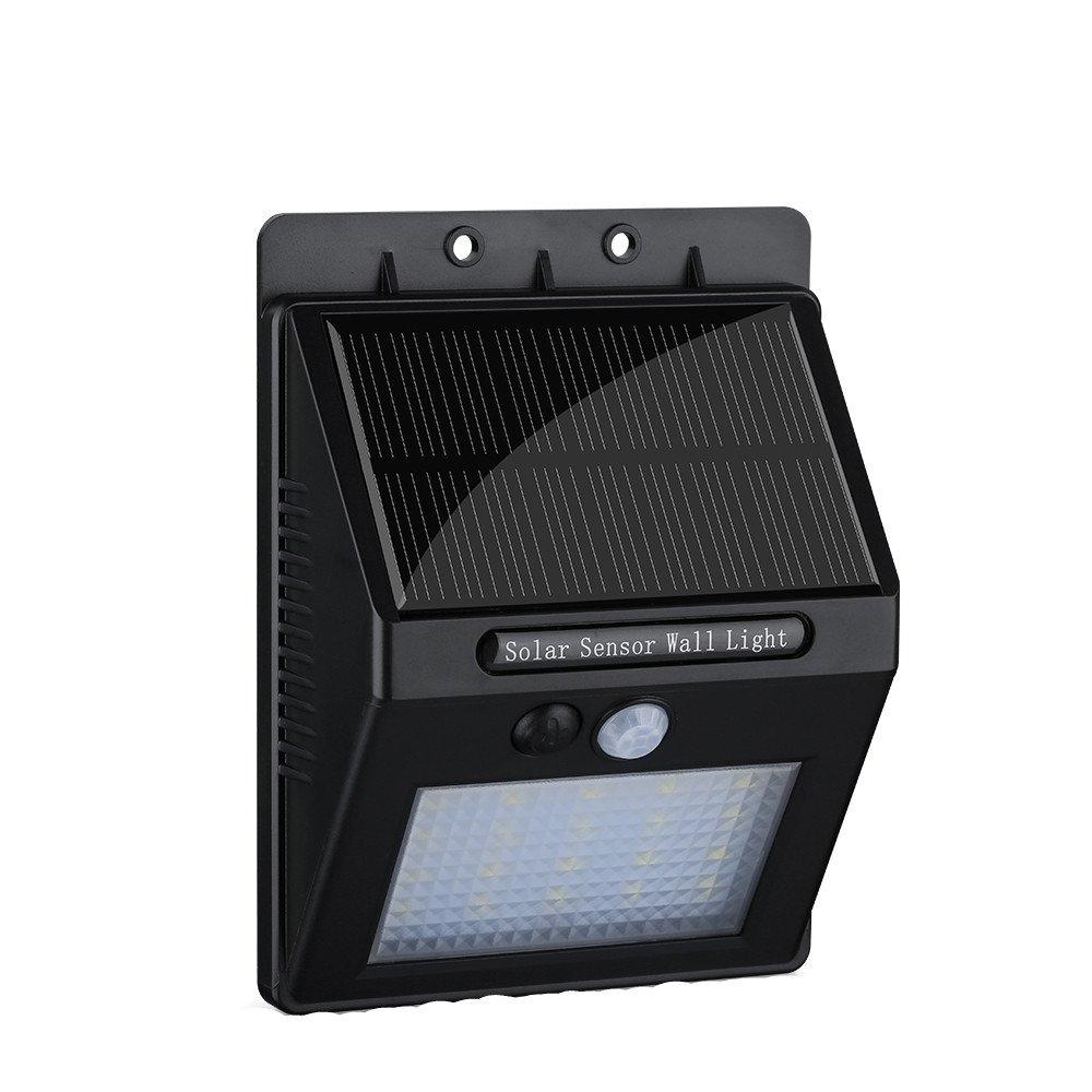 【20 LED 400 Lumens】Eclairage Exterieur, Patuoxun Eclairage Solaire avec 2200mAh batterie + Angle de détection à 120 degrés/ Eclairage de sécurité, Lampe Murale sans fil avec D&